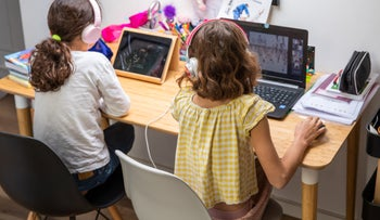 Children learn from home, April 21, 2020