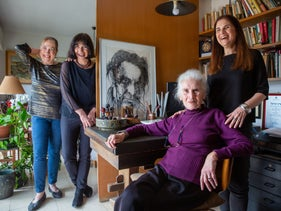 Aliza Gouri, Haim's widow at home with her daughters, (from left) Yael, Hamutal and Noa.