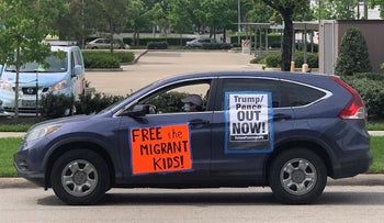 A car protest during the coronavirus crisis at an immigration detention center in Houston, March 2020.