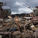 A scene of devastation wrought by the magnitude 9.0 earthquake in Japan, March 2011.