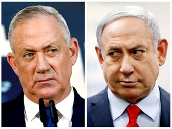 FILE PHOTO: A combination picture shows Benny Gantz, leader of Blue and White party, in Tel Aviv, Israel, November 23, 2019 and Israeli Prime Minister Benjamin Netanyahu in Kiryat Malachi, Israel March 1, 2020. REUTERS/Corinna Kern, Amir Cohen/File Photo