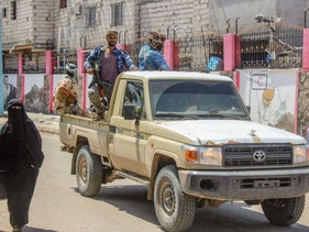 Troops from Yemen's separatist Southern Transitional Council deploy in Aden, on April 26, 2020.