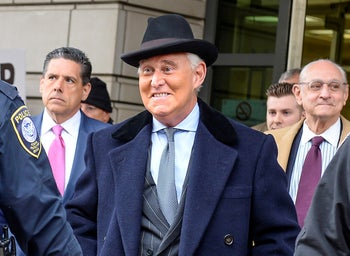 Former Trump campaign adviser Roger Stone departs his sentencing at U.S. District Court in Washington, U.S., February 20, 2020.