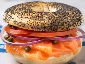 A bagel and lox at Russ & Daughters in New York City.