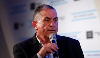 Gideon Levy speaks at a panel about the Israeli-Palestinian conflict, Tel Aviv, December 6, 2017.