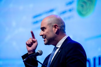 Justice Minister Amir Ohana speaking at an accountants' conference, Jerusalem, March 2, 2020.