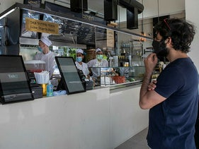 A Shwarma and Flafel shop opens for customer pickup in Tel Aviv, May 3, 2020.