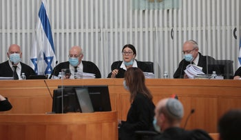 The High Court of Justice deliberates on the planned Netanyahu-Gantz coalition government, May 4, 2020.