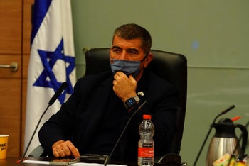 MK Gabi Ashkenazi at a committee hearing in the Knesset, May 5, 2020.