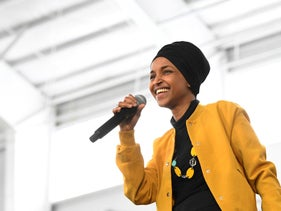 Rep. Ilhan Omar, at a rally in February 2020.