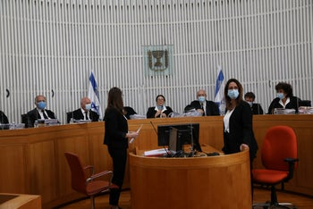 The first day of High Court hearings on the Netanyahu-Gantz governing coalition, May 3, 2020.