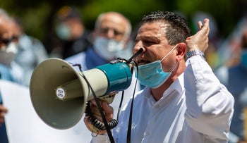 Joint List MK Ayman Odeh attends a protest organized by Arab authorities, May 4, 2020.