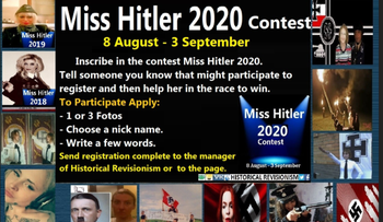 A screen shot from an advertisement for details about the Miss Hitler contest appears on the historical revisionism site World Truth taken from the Anti-Defamation Commission website.