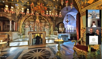 A virtual visit to Golgotha, the site of the crucifixion of Jesus, in the Church of the Holy Sepulchre in the Old City, Jerusalem.
