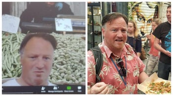 Joel Haber leading a virtual market tour, left, and the real thing in the pre-coronavirus age.