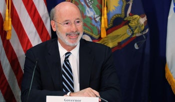 Pennsylvania Governor Tom Wolf takes part in a regional summit in New York, October 17, 2019.
