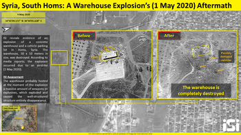 Before and after satellite images of the weapons warehouse destroyed in the strike attributed to Israel in Homs, Syria