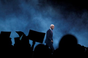 Democratic presidential candidate former Vice President Joe Biden walks on stage in Des Moines, Iowa. Nov. 1, 2019