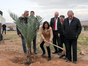 Netanyahu and cabinet members visiting the Jordan Valley