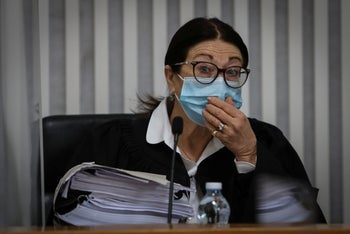 Justice Esther Hayut sitting in the High Court, Jerusalem, May 2020.