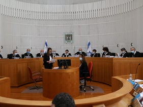 The High Court debate on whether Netanyahu should be allowed to for a government while indicted, Jerusalem, May 6, 2020