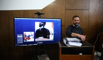 A court hearing over video conferencing at the Tel Aviv Magistrate's Court, May 7, 2020.