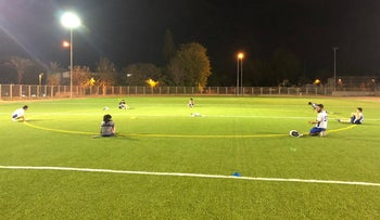 Israel's national lacrosse squad practicing in Ashkelon, May 6, 2020.
