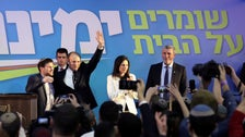 Bennett and the senior members of Yamina, Bezalel Smotrich, Ayelet Shaked and Rafi Peretz at the eve of Israel's third election in a year, March 3, 2020