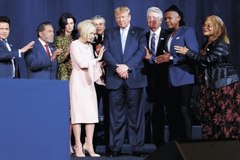 Donald Trump participates at an Evangelicals for Trump Coalition Launch at the King Jesus International Ministry in Miami, in January 2020.