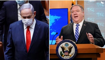 Prime Minister Benjamin Netanyahu in the Knesset and U.S. Secretary of State Pompeo during a press briefing in Washington, May 2020.