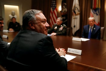 Secretary of State Mike Pompeo attends a meeting with President Donald Trump, senior military leaders and Trump's national security team in the Cabinet Room of the White House. May 9, 2020
