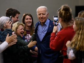 Supporters gathering around Joe Biden at a rally in Conway, South Carolina, February 27, 2020.