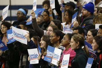 Bernie Sanders supporters at a campaign rally in Virginia Beach, Virginia, February 29, 2020.