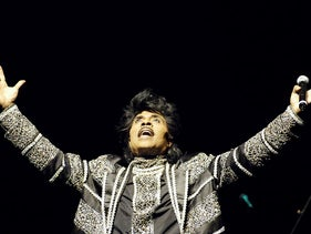 In this file photo taken on June 07, 2005, Little Richard performs on the stage of the Olympia Concert Hall in Paris