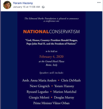 Yoram Hazony publicises the speaker list for the 'National Conservatism' conference he co-organized in February 2020, including Marion Marechal Le Pen