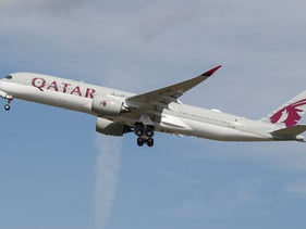A Qatar Airways aircraft takes off at the aircraft builder's headquarters of Airbus in Colomiers near Toulouse, France, September 27, 2019.