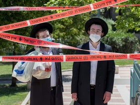 Police tape enforcing movement restrictions in the ultra-Orthodox neighborhood of Kiryat Belz, Jerusalem, May 1, 2020.