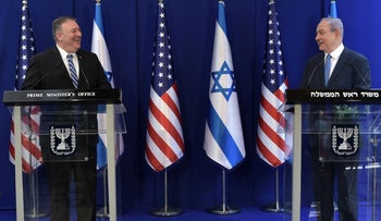 Netanyahu and Pompeo deliver a joint statement at the Prime Minister's Residence in Jerusalem, May 13, 2020.