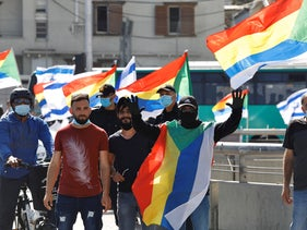 Druze and Circassians protest against the government at the Junction outside the Azrieli mall, May 10, 2020.