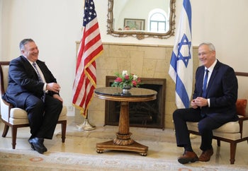 Pompeo and Gantz meet in the U.S. Embassy in Jerusalem, May 13, 2020.