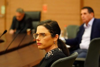 Ayelet Shaked attends a meeting of the coronavirus committee in the Knesset, March 31, 2020.