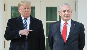 S President Donald Trump and Israeli Prime Minister Benjamin Netanyahu (R) speak to the press on the West Wing Colonnade prior to meetings at the White House in Washington, DC, January 27, 2020.