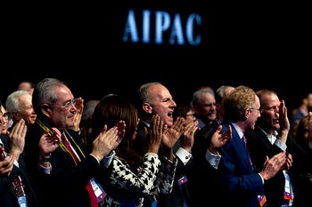 People applaud at the 2019 American Israel Public Affairs Committee (AIPAC) policy conference, at Washington Convention Center, in Washington, Tuesday, March 26, 2019.