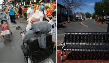 Tale of two cities: Shoppers in Hatikva Market, Tel Aviv, on May 12, left, and the deserted main drag of Westport, Connecticut, May 5. 2020.