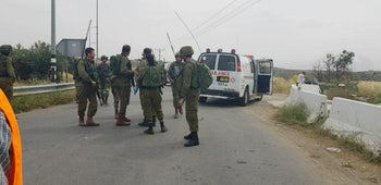 The scene of the suspected attack near the settlement of Negohot, south-east of Hebron, May 14, 2020.
