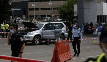 The scene of the incident outside the Sheba Medical Center in Tel Hashomer, May 13, 2020.