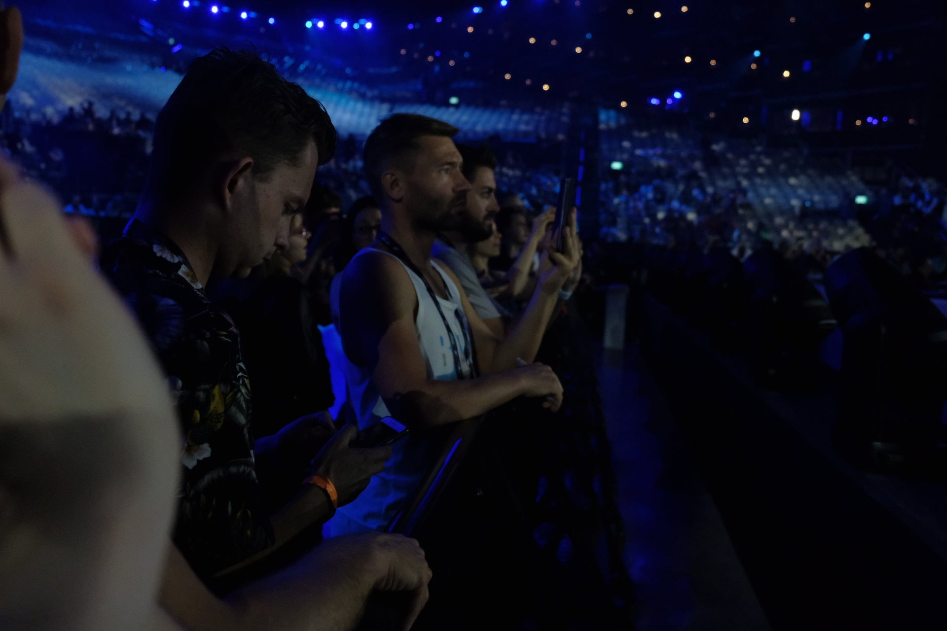 Journalists watch a rehearsal for Eurovision 2019, held in Tel Aviv, Israel, on May 2019.