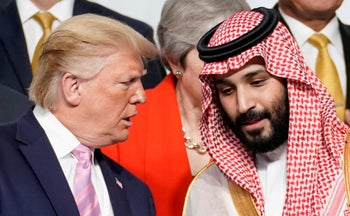 Trump and Mohammed bin Salman at the G20 leaders summit in Osaka, Japan, June 28, 2019.