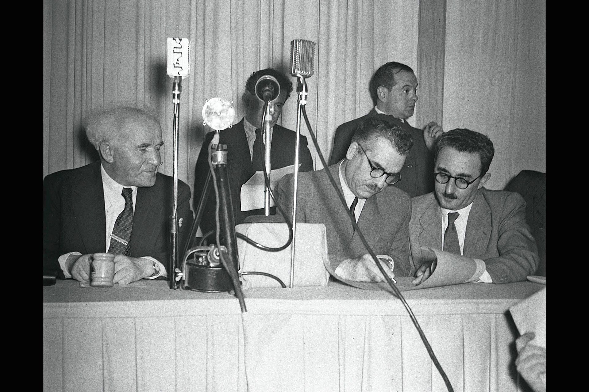 The signing of the declaration of the State of Israel, May 15, 1948.