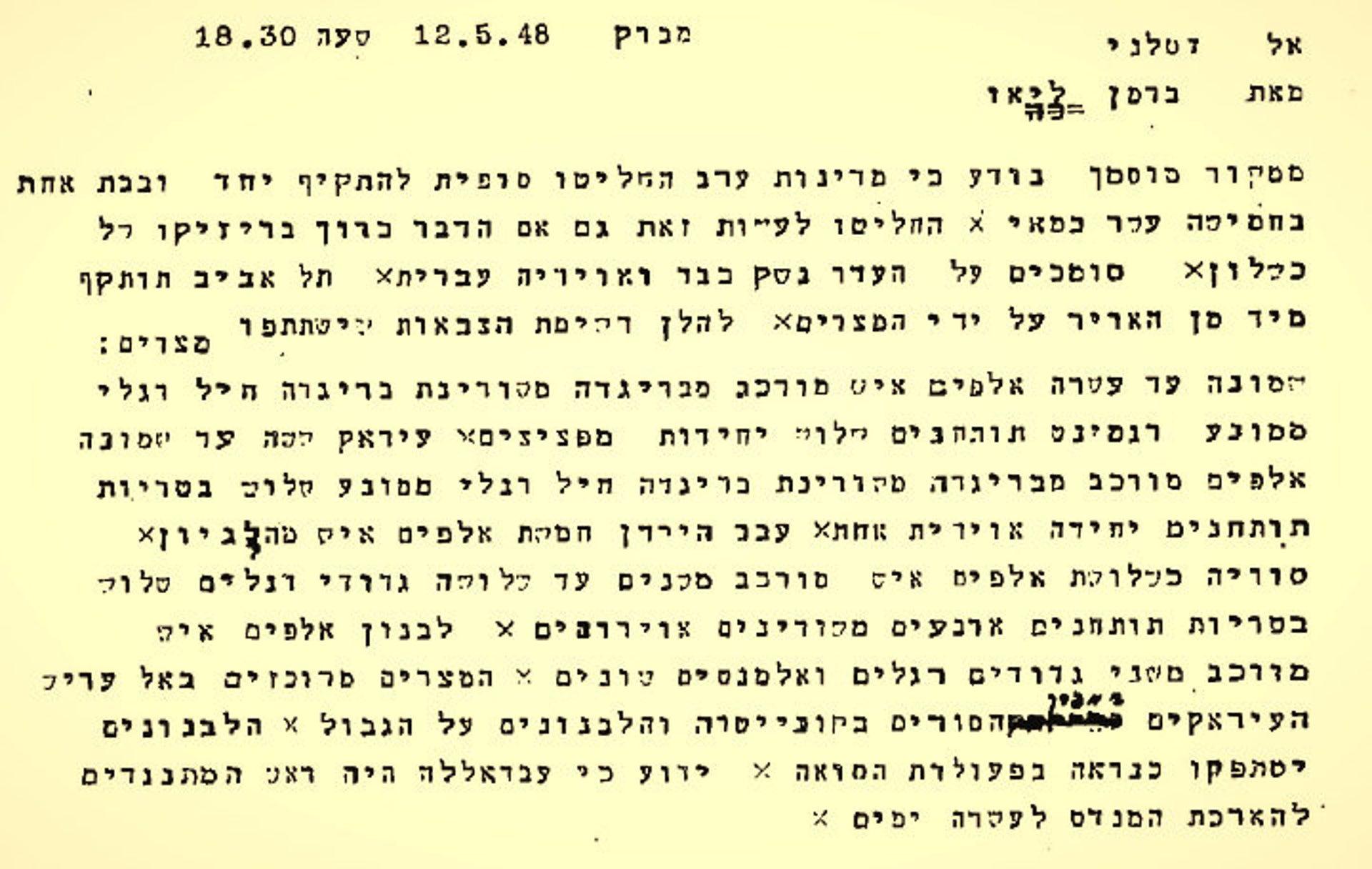 """The telegram with the French intelligence received by Ben-Gurion. """"They have decided to do so even if it entails a risk of failure. They are relying on a lack of heavy weapons and Jewish air power."""""""
